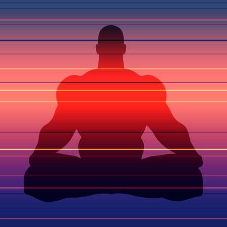 Muscular man sit in meditation pose. Bodybuilder relaxing. Human silhouette. Yoga center brochure. Stockfoto - 151338523