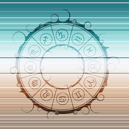 Astrological symbols in the circle. Astrology concept