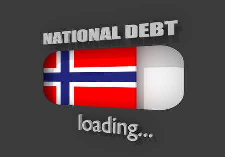 National debt progress bar read high level result. National flag of Norway. 3D rendering