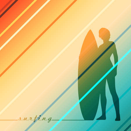 Woman posing with surfboard. Monochrome silhouette. Vintage surfing graphic for web design