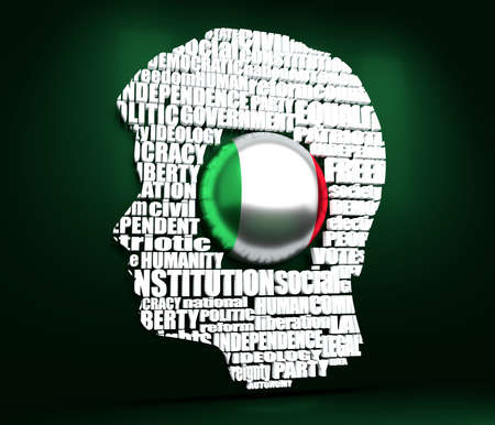 Head of man filled by word cloud. Words related to politics, government, parliamentary democracy and political life. Flag of the Italy. 3D rendering