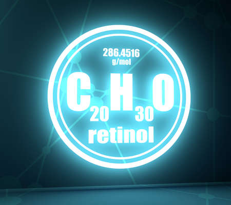 Formula vitamin A retinol. Connected lines with dots background. 3D rendering. Neon shine