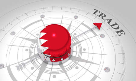 Business concept. Abstract compass points to the trade word. Flag of the Bahrain. 3D rendering Stockfoto
