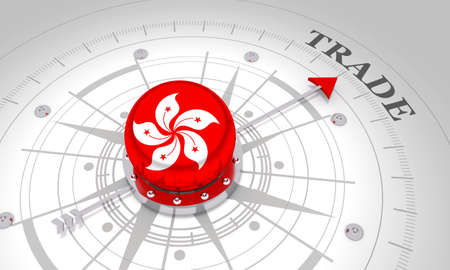 Business concept. Abstract compass points to the trade word. Flag of the Hong Kong. 3D rendering Stockfoto