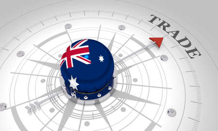 Business concept. Abstract compass points to the trade word. Flag of the Australia. 3D rendering Stockfoto