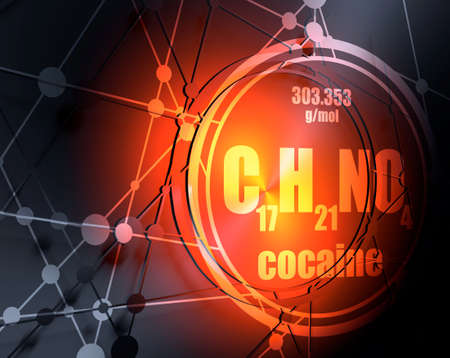 Chemical formula of cocaine. Connected lines with dots background. 3D rendering