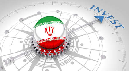 Business concept. Abstract compass points to the invest word. Flag of the Iran. 3D rendering