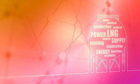 Energy and Power icon. Energy generation and heavy industry. Gas storage tank. Horizontal thin line style web banner Stockfoto