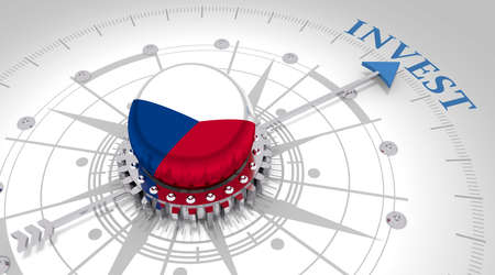 Business concept. Abstract compass points to the invest word. Flag of the Czech Republic. 3D rendering