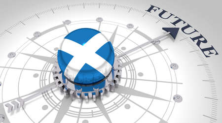 Business concept. Abstract compass points to the future word. Flag of the Scotland. 3D rendering