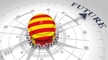 Business concept. Abstract compass points to the future word. Flag of the Catalonia. 3D rendering