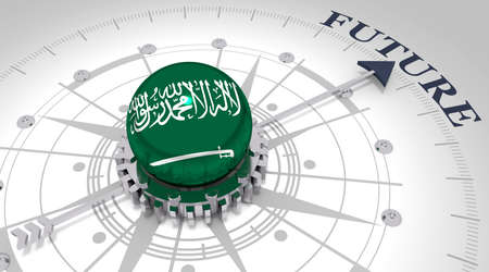 Business concept. Abstract compass points to the future word. Flag of the Saudi Arabia. 3D rendering Stockfoto