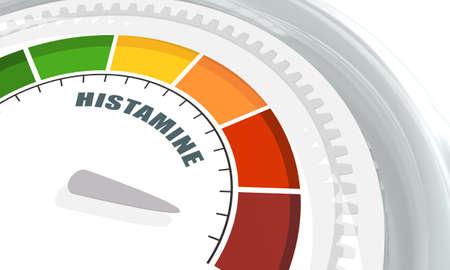 Scale with arrow. The histamine measuring device. Sign tachometer, speedometer, indicator. 3D rendering