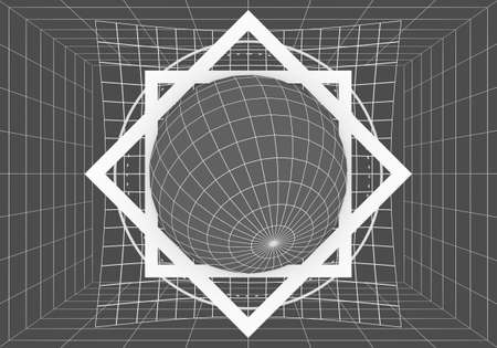 Mystery, witchcraft, occult and alchemy geometry. Mystical vintage gothic thin lines style background. 3D rendering