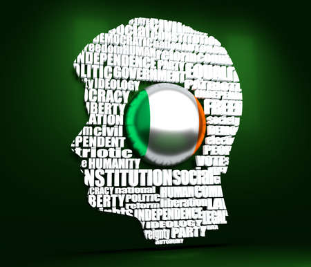 Head of man filled by word cloud. Words related to politics, government, parliamentary democracy and political life. Flag of the Ireland. 3D rendering
