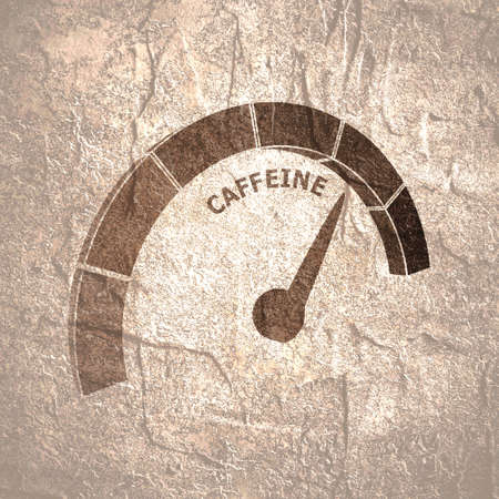 Scale with arrow. The caffeine measuring device. Sign tachometer, speedometer, indicator. Stockfoto