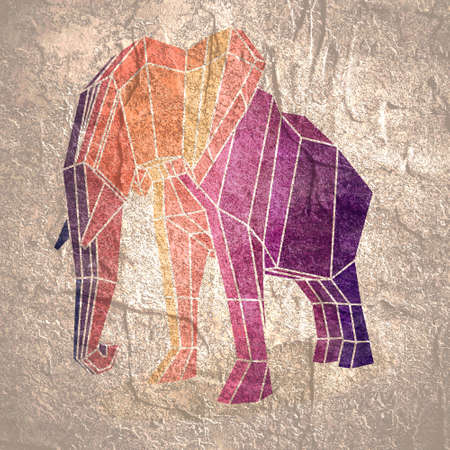 Beautiful elephant. Abstract geometric polygon style illustration. Stock Photo