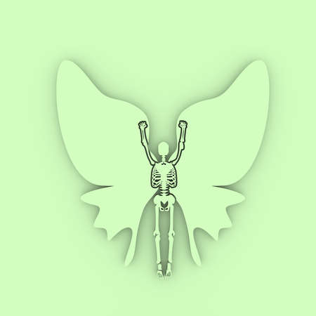 Human skeleton posing with wings of butterfly. 3D rendering Stockfoto