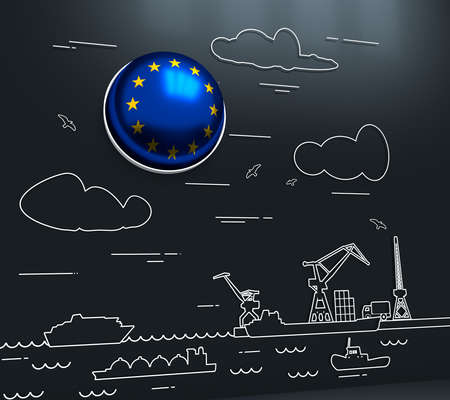 Sea port, marine cargo terminal, freight vessels or ships carrying containers drawn with contour lines. Maritime transportation. Illustration in linear style. Flag of the European Union. 3D rendering