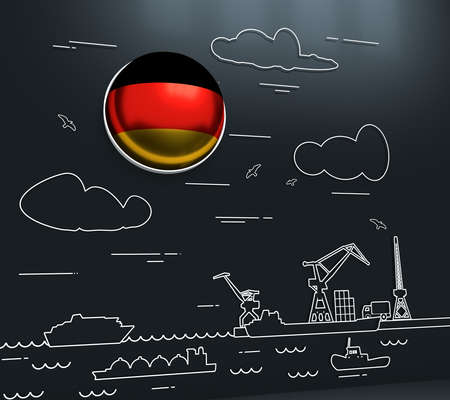 Sea port, marine cargo terminal, freight vessels or ships carrying containers drawn with contour lines. Maritime transportation. Illustration in linear style. Flag of the Germany. 3D rendering Stockfoto