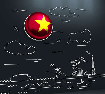 Sea port, marine cargo terminal, freight vessels or ships carrying containers drawn with contour lines. Maritime transportation. Illustration in linear style. Flag of the Vietnam. 3D rendering