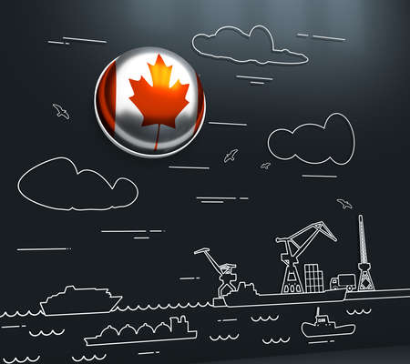 Sea port, marine cargo terminal, freight vessels or ships carrying containers drawn with contour lines. Maritime transportation. Illustration in linear style. Flag of the Canada. 3D rendering