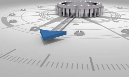 Business concept. Abstract compass with blue arrow. 3D rendering