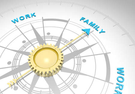 Balance between career and family. Abstract compass points to the family word. 3D rendering