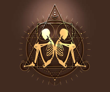 Mystery, witchcraft, occult and alchemy tattoo sign. Mystical vintage gothic geometry thin lines symbol with silhouette of a human skeleton. 3D rendering