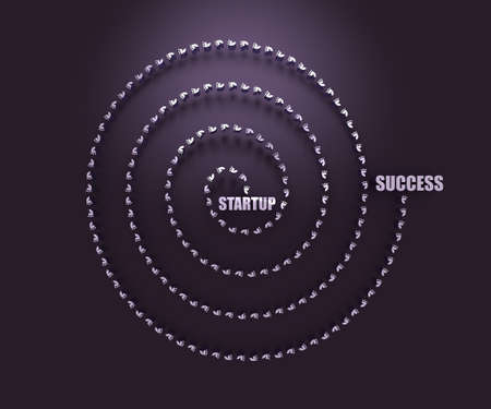 Business concept. Pathway from startup to success. 3D rendering Stockfoto