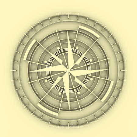 Brochure or report design element. Travel and discovery relative image. Compass symbol on geometry pattern. 3D rendering