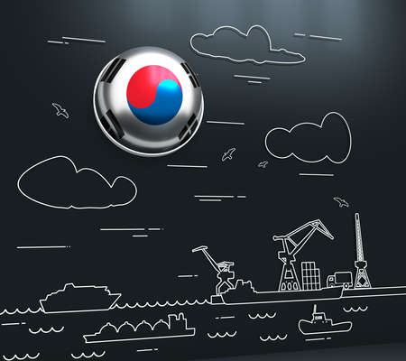 Sea port, marine cargo terminal, freight vessels or ships carrying containers drawn with contour lines. Maritime transportation. Illustration in linear style. Flag of the South Korea. 3D rendering