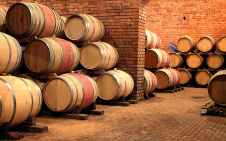 Wine barrels in wine-vaults in order