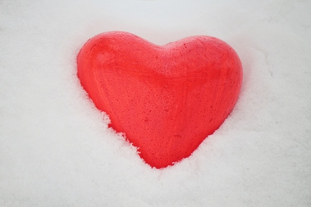 ice pack: Red heart in the snow