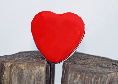 Red heart on white background photo