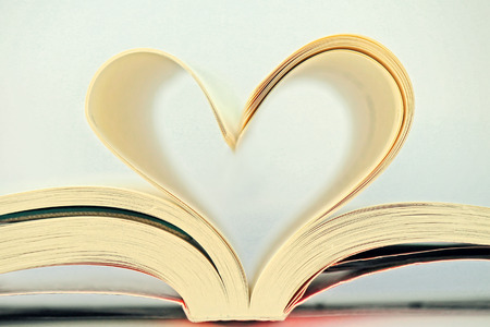 prose: heart from book sheets Stock Photo