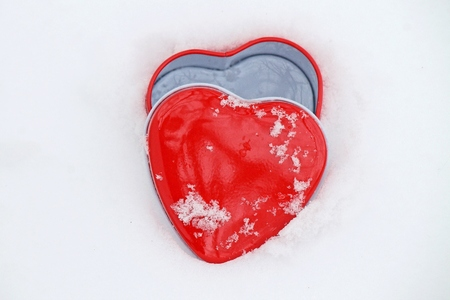 february 14th: red heart and snow