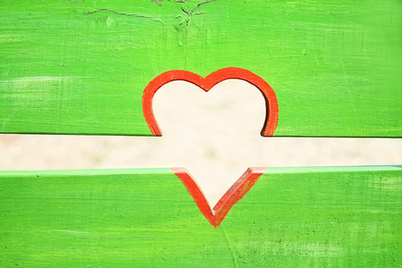 red heart on green