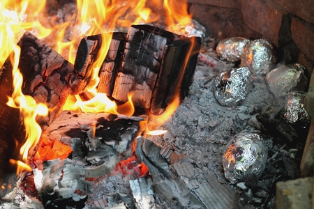 camp fire Standard-Bild
