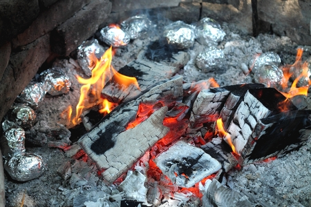 chitterlings: Baking at the campfire
