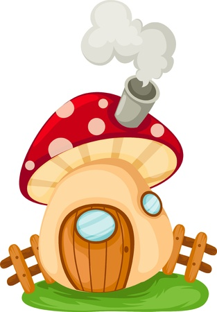 the word mushroom house  Illustration