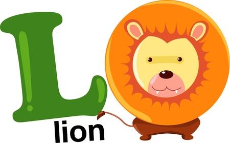 animal alphabet: animal alphabet letter-l Illustration