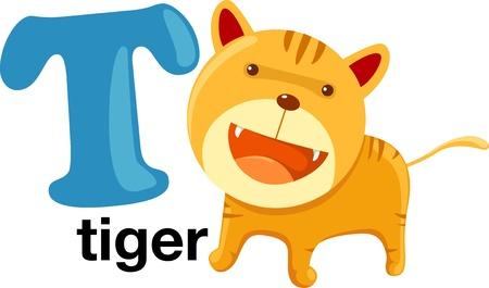 animal alphabet letter-t Vector