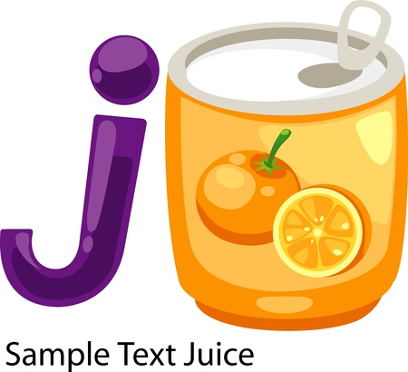 illustration isolated ALPHABET LETTER J-Juice  Vector