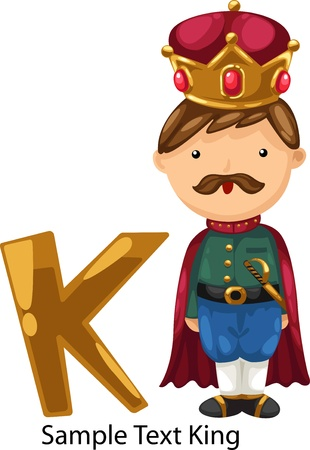 illustration isolated ALPHABET LETTER K-King  Vector