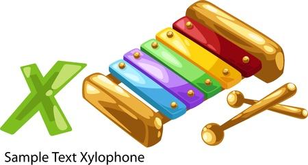 niño preescolar: ilustración de la letra del alfabeto aislado X-xilófono Vectores