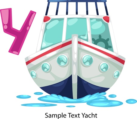 illustration isolated ALPHABET LETTER Y-Yacht  Vector