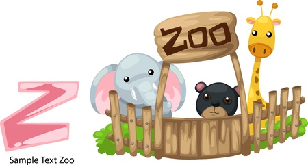 illustration isolated ALPHABET LETTER Z-Zoo  Vector
