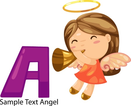 illustration isolated ALPHABET LETTER A- Angel  Vector