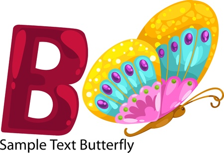 illustration isolated ALPHABET LETTER B-Butterfly  Vector